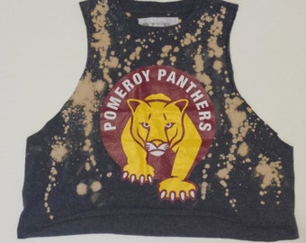 "Restyled ""Panther"" Distressed Crop Tank"