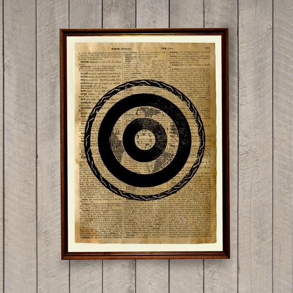 Vintage decor Archery poster Dictionary page Bullseye print from Etsy