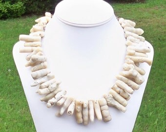 White Coral Statement Necklace Chunky Ethnic Tribal White Coral Spike Gemstone Beaded Necklace Beach Bridal - Sterling Silver Clasp