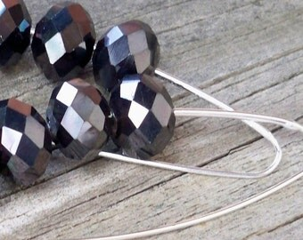 Kath - Long Beaded Faceted Pewter Gray Black Glass Rondel Silver Dangle Earrings
