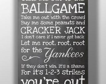 New York Yankees- Take Me Out to the Ballgame Chalkboard Print