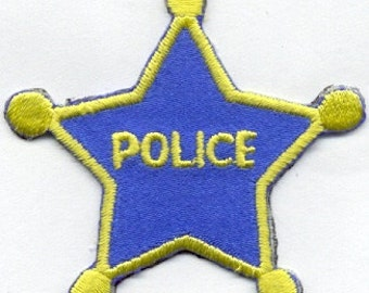 Police Star Police Badge Iron on Patch Law Enforcement Cop Star