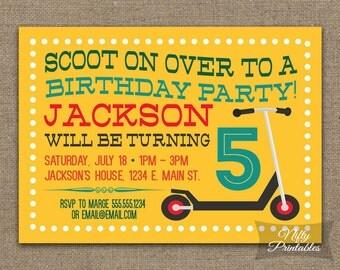 Printable Scooter Birthday Invitations - Yellow 5th Birthday Invites - ANY AGE - 3rd 4th 6th 7th 8th Boys Birthday Invitation