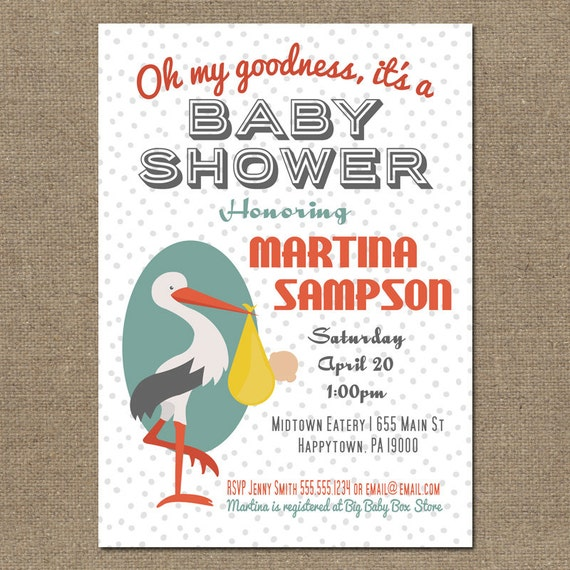 Printable Baby Shower Invitations - Stork in Gray, Orange and Green for Girl or Boy - Digital Invite