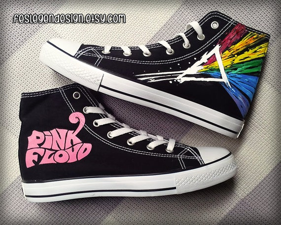 pink floyd custom converse painted shoes by feslegendesign