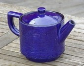 Scandinavian Tea pot in Blue Glazed Stoneware, Swedish Design TeaPot by M. Simmulson for Upsala Ekeby, 1960s Near Mint Cond. Sweden