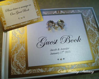 Personalised Wedding Guest Book. Gold Damask.
