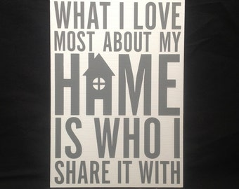 What I Love Most About My Home Is Who I Share It With | MDF Sign | Plaque | Decor |Gift| Family | New Home | Housewarming | UK FREE P&P