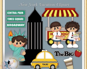 New York Vacation Clipart, Statue of Liberty, Empire State Building Digital Scrapbook Elements