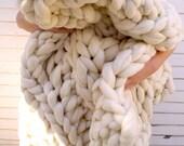 "RESERVED Chunky Knit  Blanket, 40""x 60"", Knit Merino Blanket, Super Chunky Knit, Giant Knit, Extreme Knitting, Super Chunky Knit Blanket"