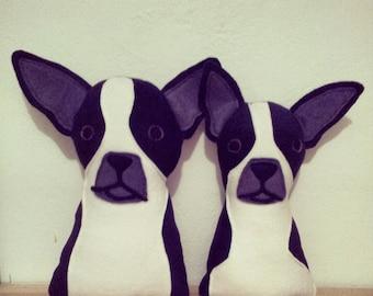 Boston Terrier Chihuahua Mix Pair KITTY GRAM Friend Plush Dog Fundraiser 100% Profits to Animals