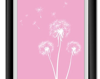 INSTANT DOWNLOAD Pink White Dandelion Printable Art Digital Print Wall Decor Bathroom Bedroom Custom Modern Miminimalist Flower Nursery