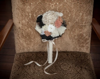 Vintage inspired cream, pink and black fabric bridesmaid bouquet