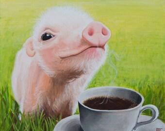 Coffee pig - Limited edition art print
