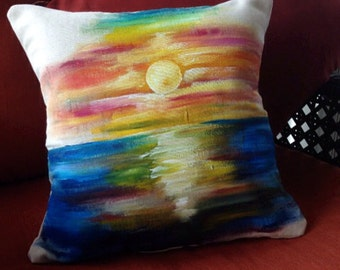 Colorful Sunset Painted Pillow, One of a Kind