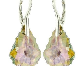 925 Sterling Silver Faceted Baroque Swarovski Crystal Leverback Earrings