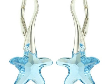 925 Sterling Silver Faceted Starfish Swarovski Crystal Leverback Earrings