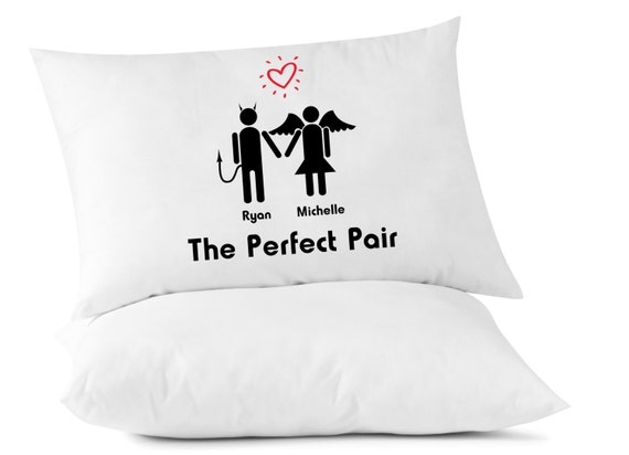 The Perfect Pair - Personalized Pillow Case - Angel Devil - Love