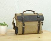 Khaki Canvas Bag , Student  Bag ,Leisure Messenger Bag , Canvas Handbags , Gifts