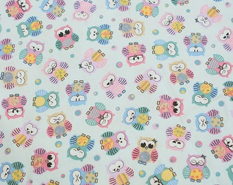 Cotton Fabric Owl Light Mint By The Yard