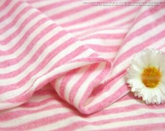 Cotton Jersey Knit Fabric 5 mm Stripe Melange Pink By The Yard