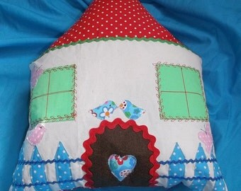 Little Birdies  House Cottage Cuddle Cushion / travel cushion  - can be personalized at no extra costs !!!
