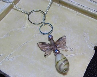Violet Butterfly Lariat Necklace