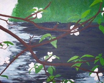 Dogwood Over Water -- print