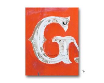 Letter Art, Letter G Alphabet Art, Vintage Vegas Neon Sign Letters
