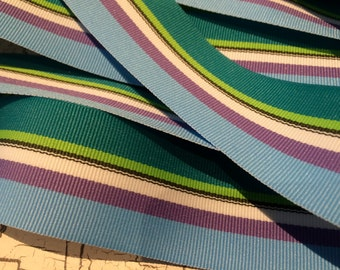 "3 YARDS Preppy 1.5"" Purple Green blue and More STRIPE Grosgrain RIbbon"