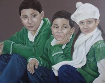 24 x 30 Custom Portrait Painting,Three People, Acrylic on Canvas, Commission Portrait
