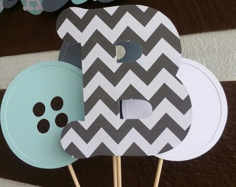 6ft Cute as a button banner, with matching centerpiece. Gray chevron