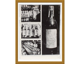 "1943 Halftone Print Image / Rare 1783 Napoleon Brandy / Original magazine clip out / 10"" x 13"" / Buy 2 Get 1 FREE"