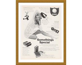 """1969 Playboy Products B&W Print AD / Somethings special / 7"""" x 10"""" / Original Advertisement / Buy 2 ads Get 1 FREE"""