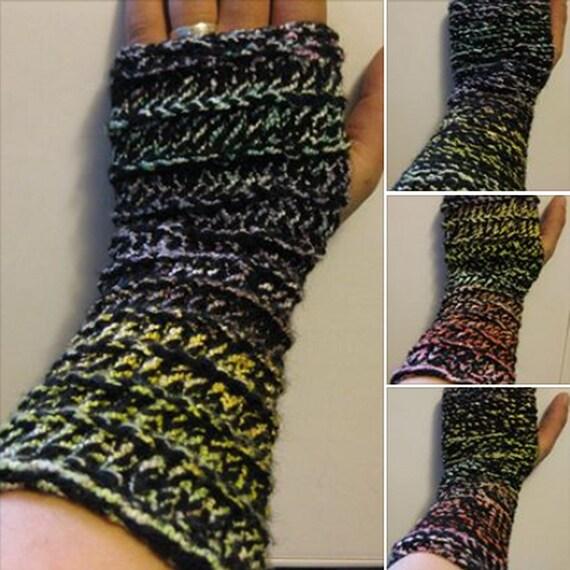Rainbow Loom Knitting Patterns : Items similar to Rainbow Love Loom Knit Wrist Warmer Pattern on Etsy