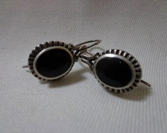 Vintage Onyx & 925 Sterling Silver Earrings - Signed