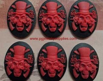 25x18 oval resin guns n roses skull cameos red on black 6 pcs