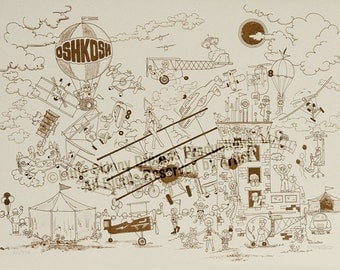 LIQUIDATION SALE! Tribute Print: A humorous look at the internationally world-famous annual fly-in held in Oshkosh, WI
