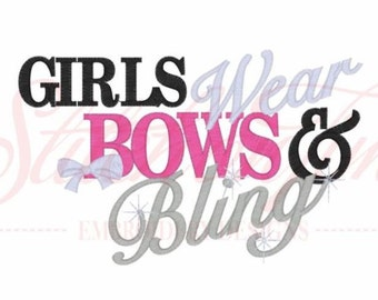 Girls Wear Bows & Bling Kids or Babies T-shirts or Bodysuit Your Choice Baby Shower Gift