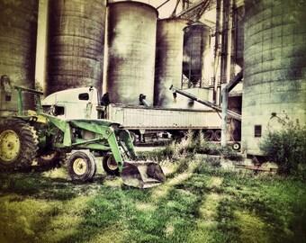 Grain Silos, Tractor, Harvest, Farm, Midwest