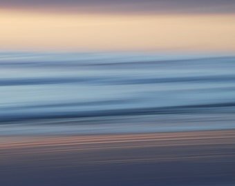 Ocean Sunrise View with Panning, Sand, Beach, Blues, Pinks, Impressionism