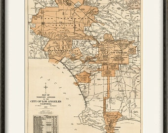 Los Angeles map print map vintage old maps Antique map poster map decor home decor wall map city old prints Los Angeles print 12x16 print
