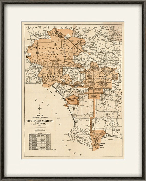 Los Angeles Map Print Vintage Old Maps Antique Poster: Los Angeles Map Print At Infoasik.co