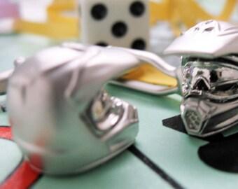 Motorcross Bike Helmet Cufflinks Silver Tone 3D Motorcycle Cuff Links