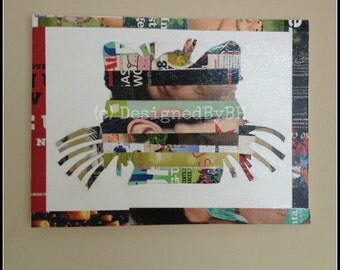 Large Cat Upcycled Magazine Strip Art on Canvas - 12in x 16in