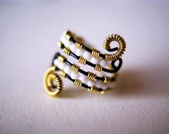 Adjustable Black and Gold Wire Wrapped Ring with White Beads
