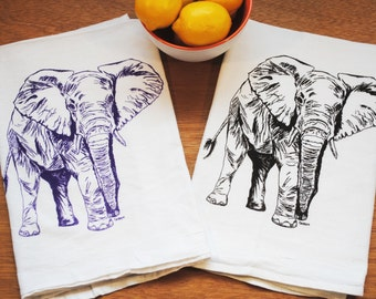 Cotton Tea Towel Set - Screen Printed Flour Sack Material - Elephant Tea Towels - Perfect Towels for Dishes - African Theme