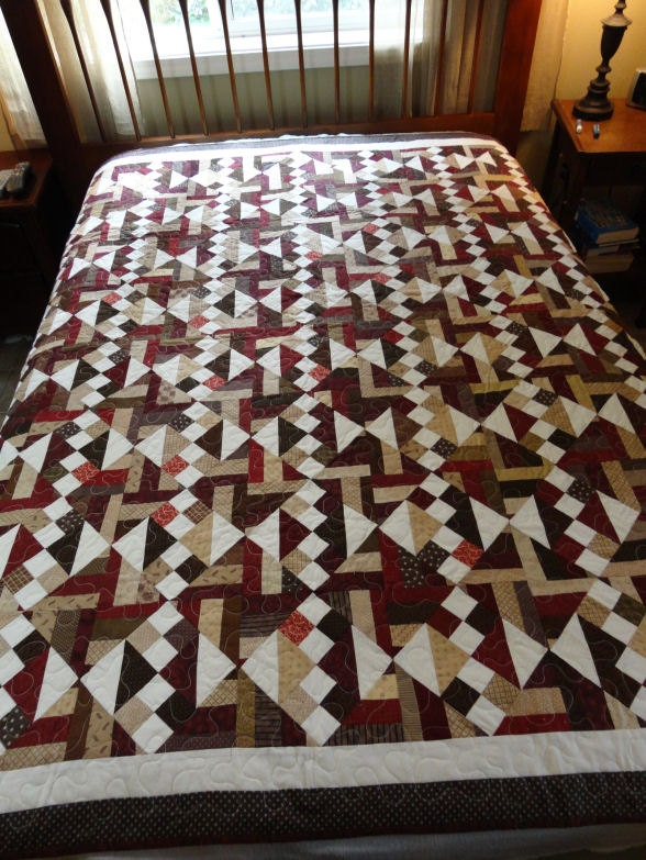 Burgundy Dark Brown And Tan Patchwork Quilt Made With Many