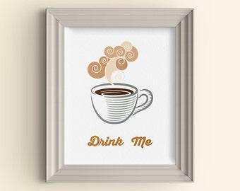 Retro kitchen art print Coffee art print Retro coffee Drink Me 5x7 wall art Funny typography art print Coffee lover art Housewarming gift