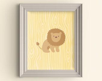Lion Nursery Playroom art print Jungle Safari Faux Bois Wood Grain pattern Baby Shower Gift Baby Room Wall Poster Choose your custom color